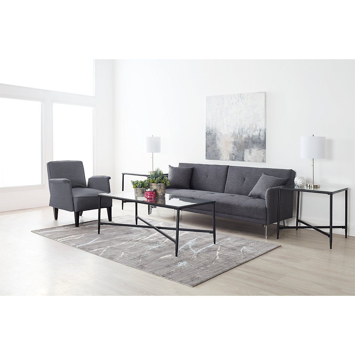 City Furniture: Amani Dark Gray 7-Piece Living Room Package