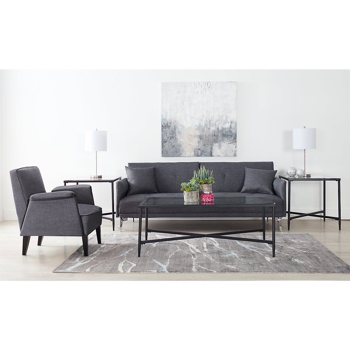 Amani Dark Gray Sofa Futon: Living Room Sofas & Couches