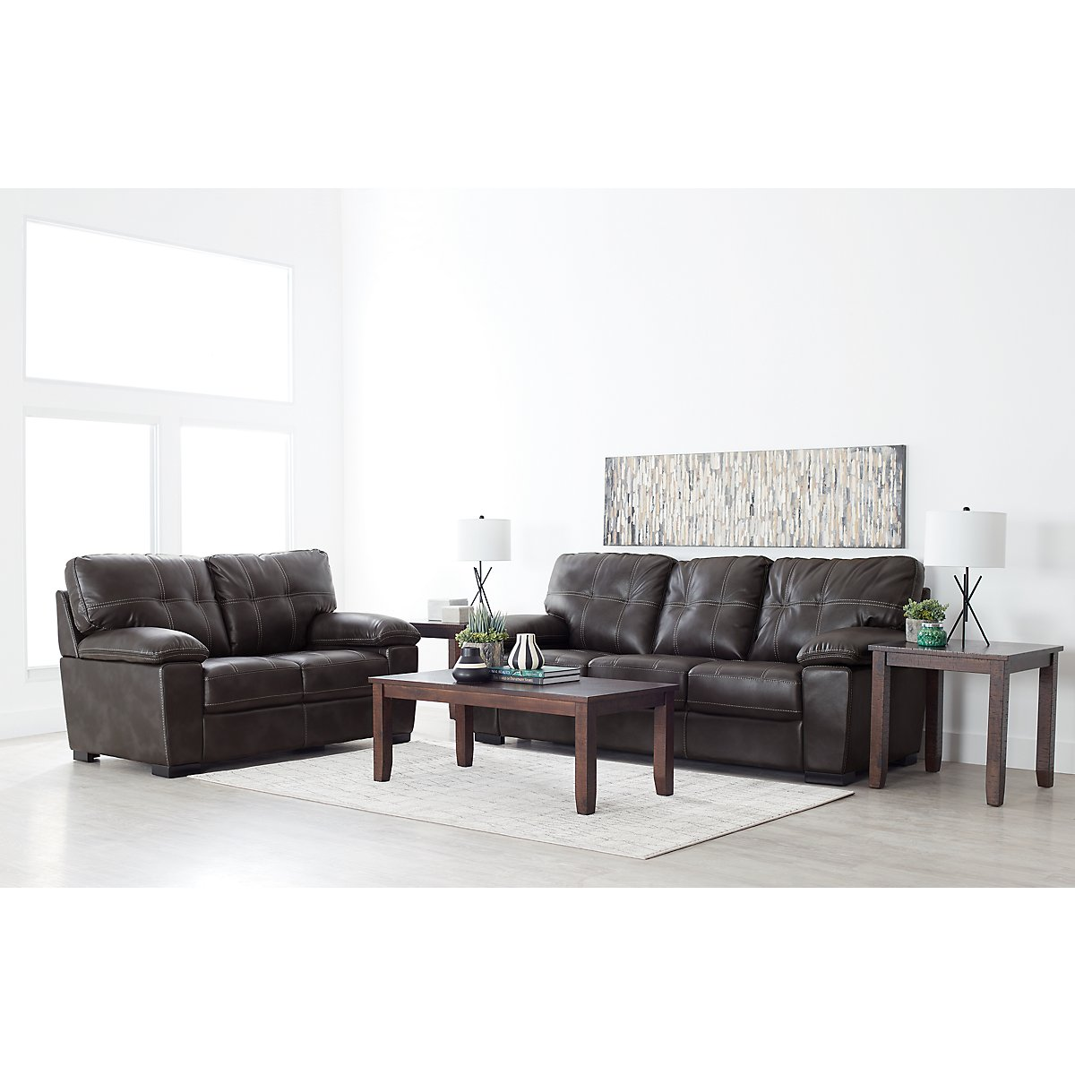 City Furniture: Henry Gray Microfiber 7-Piece Living Room Package