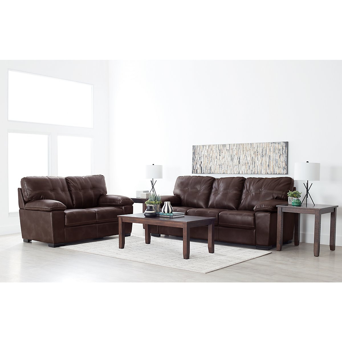 City Furniture: Henry Dark Brown Microfiber Sofa