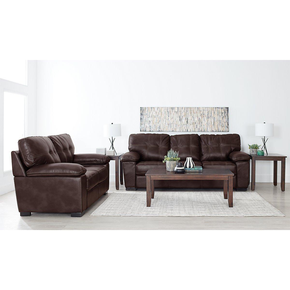 City Furniture: Henry Dark Brown Microfiber 7-Piece Living Room Package