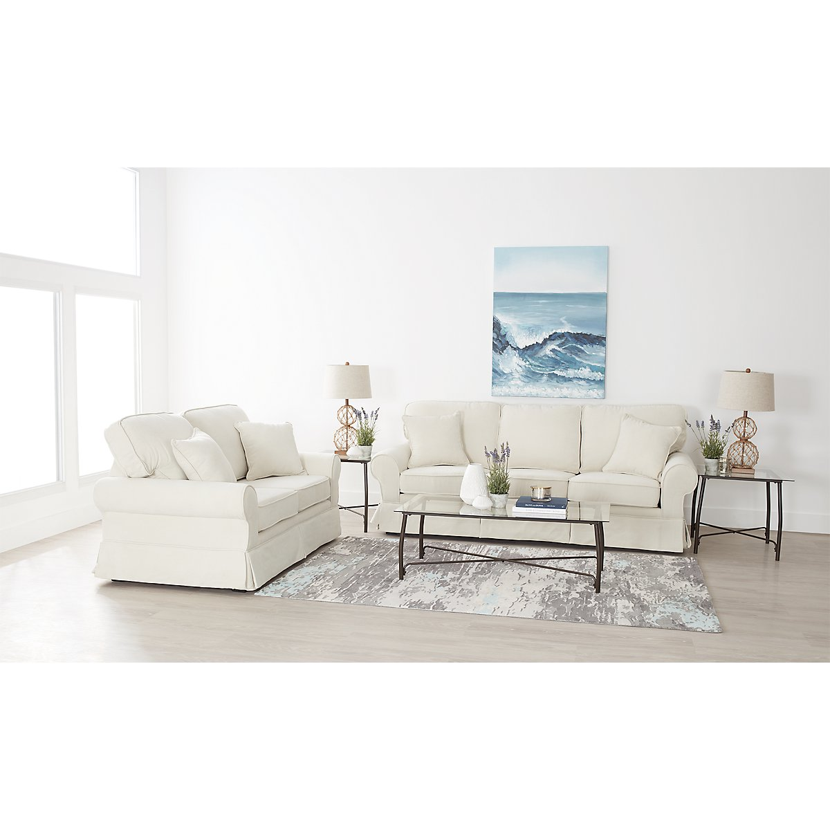 City Furniture: Reese White Large 7-Piece Living Room Package