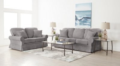Reese Dark Gray Large 7 Piece Living Room Package