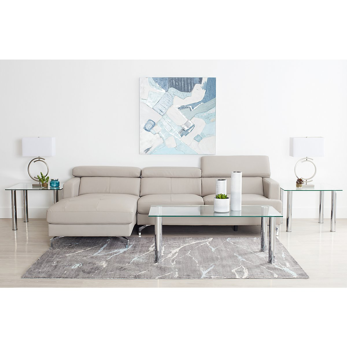 City Furniture: Marquez Gray Left 6-Piece Living Room Package
