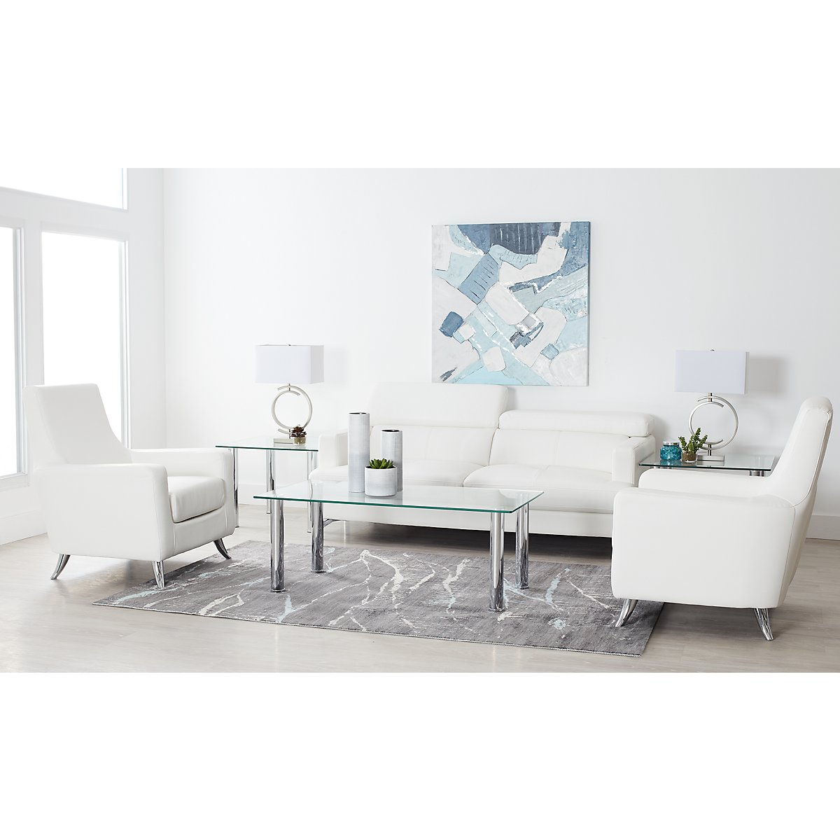 City Furniture: Marquez White Microfiber 8-Piece Living Room Package