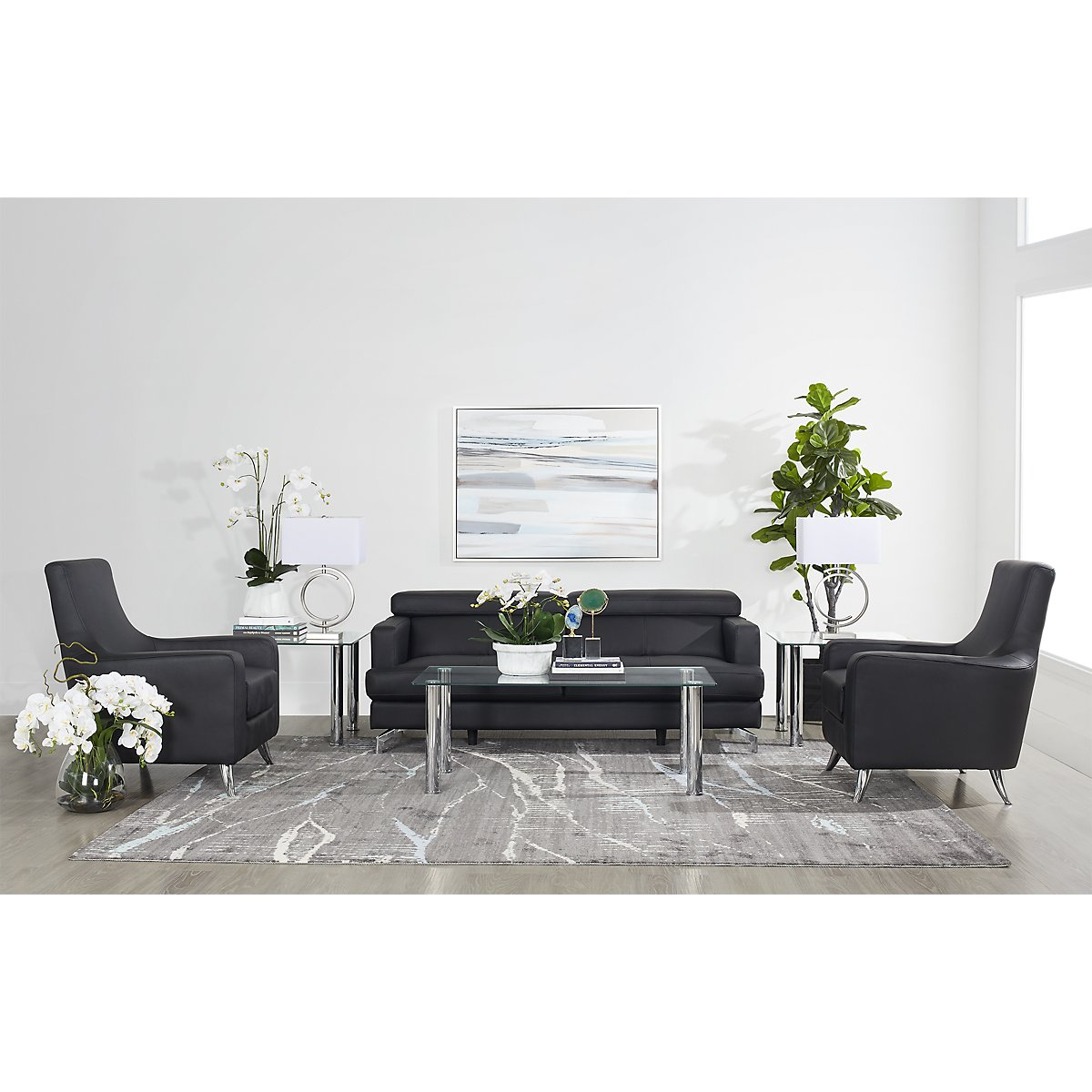 City Furniture: Marquez Black Microfiber 8-Piece Living Room Package