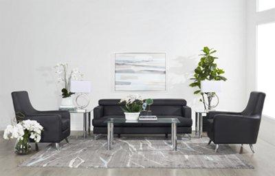 Gentil Marquez Black Micro 8 Piece Living Room Package ...
