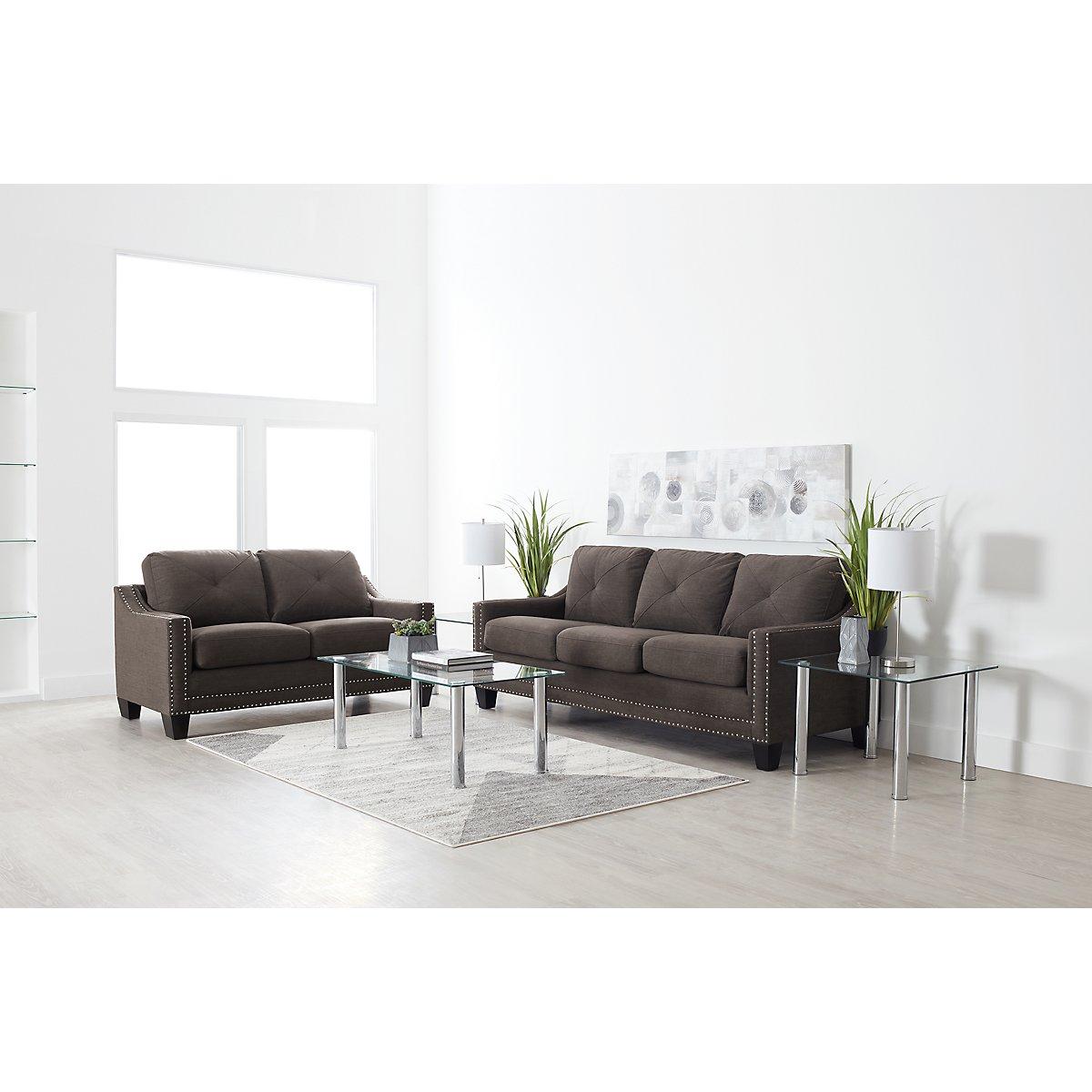 City Furniture: Malone Dark Gray Microfiber Loveseat
