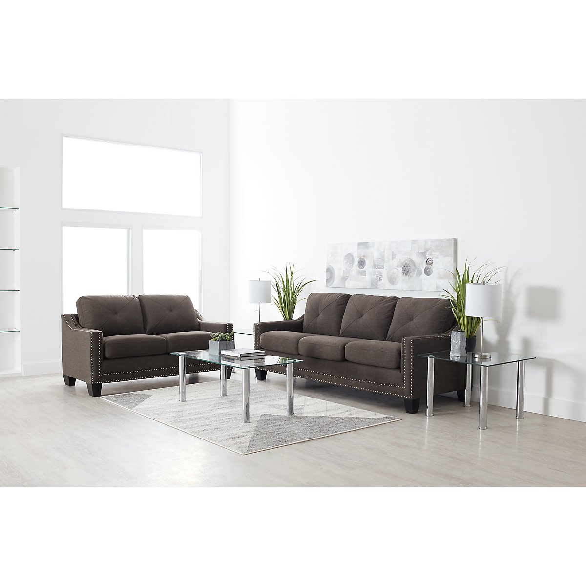 City Furniture: Malone Dark Gray Small 7-Piece Living Room Package