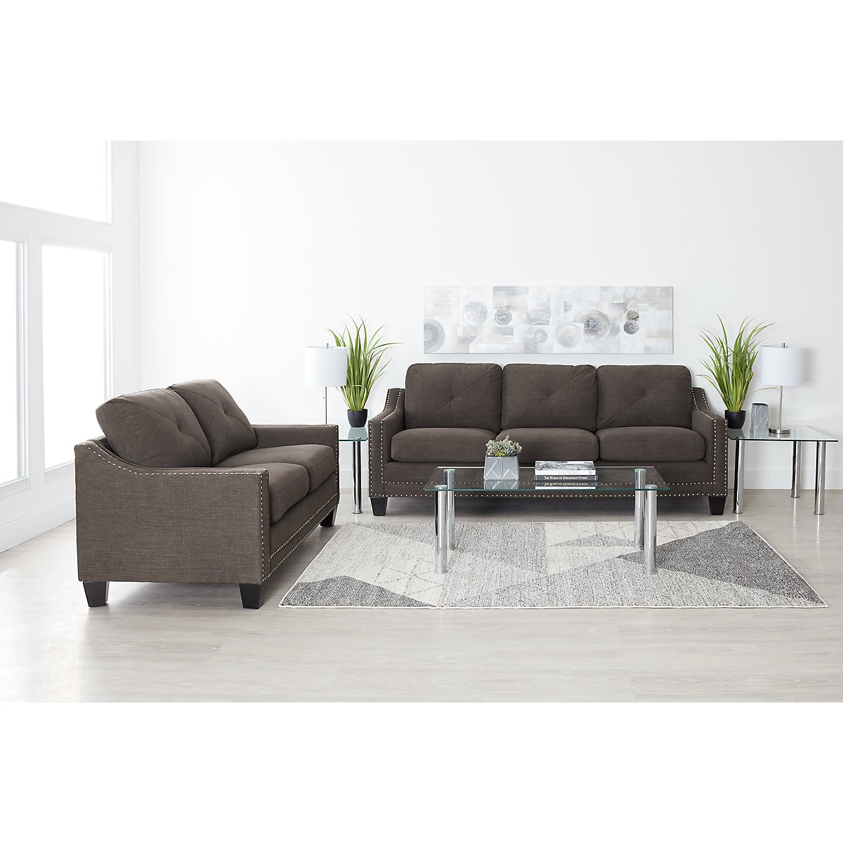 City Furniture: Malone Dark Gray Microfiber Small Sofa