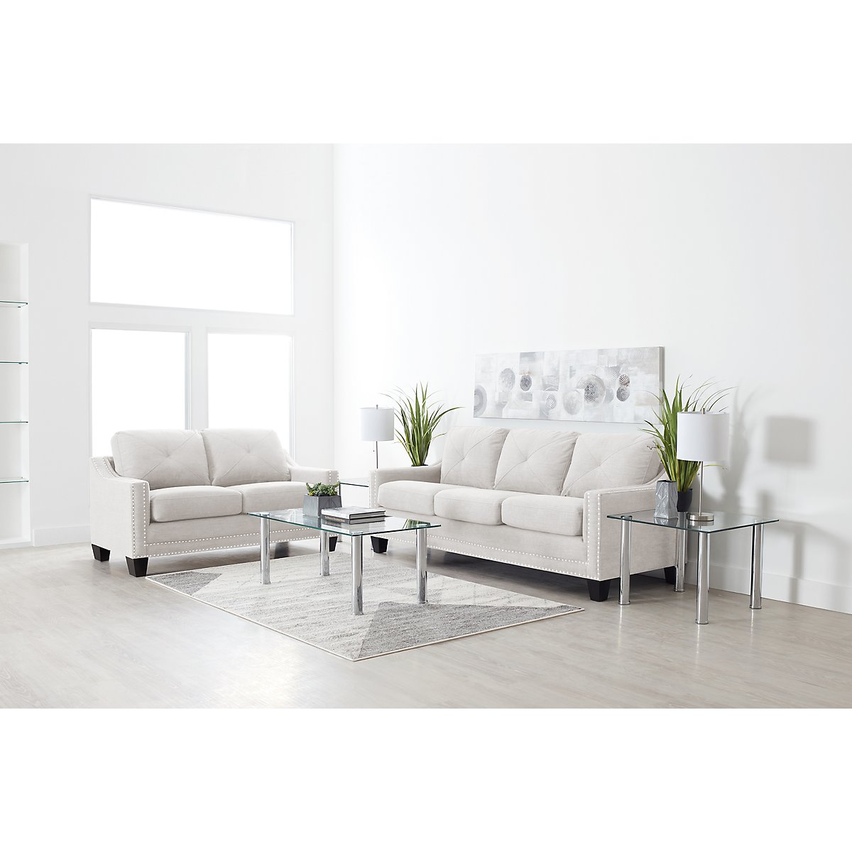 City Furniture: Malone Beige Large 7-Piece Living Room Package