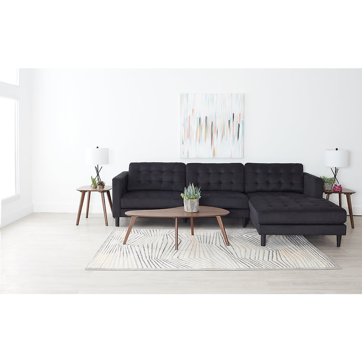 Shae Dark Gray Microfiber Right Chaise Sectional: Living Room