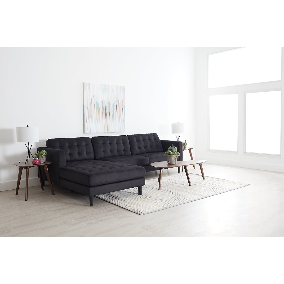 City Furniture: Shae Dark Gray Microfiber 6-Piece Living Room Package