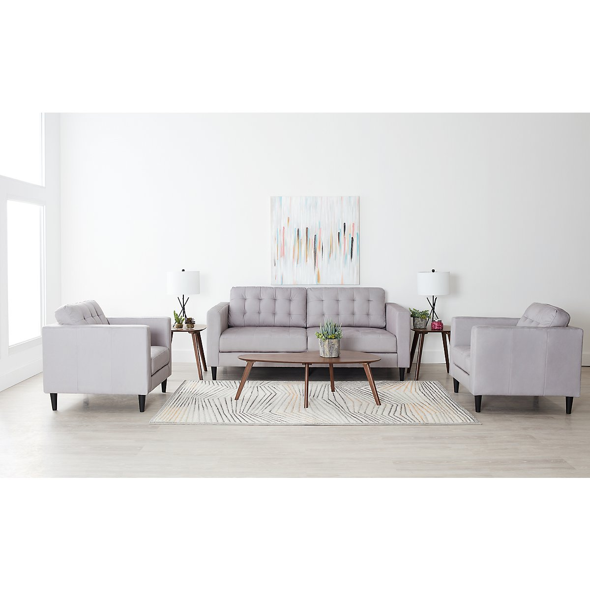 City Furniture: Shae Light Gray Microfiber 7-Piece Living Room Package