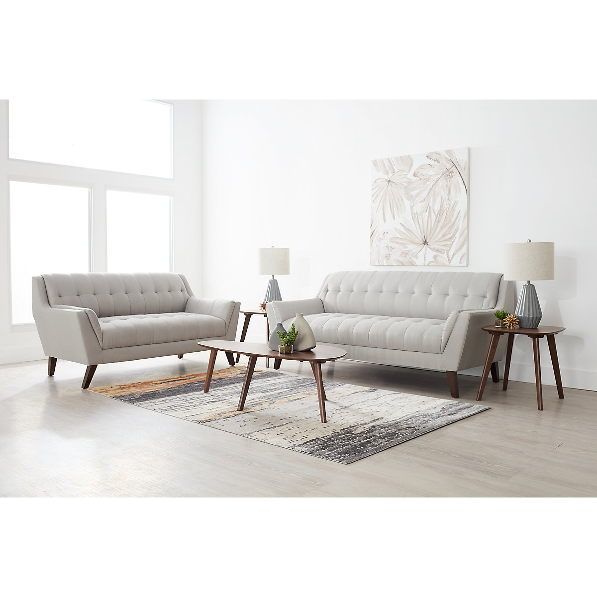 City Furniture: Brentwood Light Beige Fabric 7-Piece Living Room Package