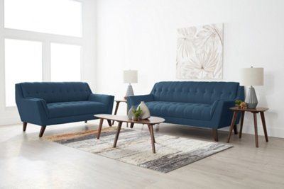 Brentwood Dark Blue Fabric 7 Piece Living Room Package ...
