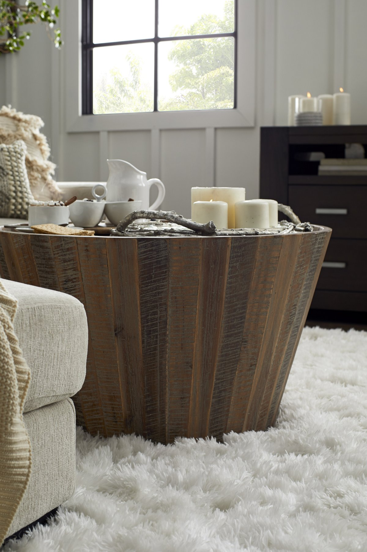 Conundrum Mid Tone Wood Round Coffee Table