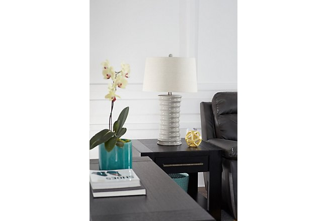 Cara Light Gray Ceramic Table Lamp