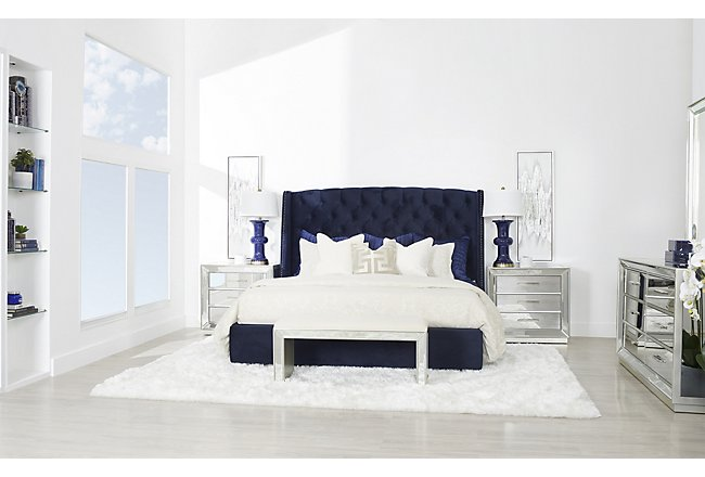 Monroe Silver Upholstered Bench