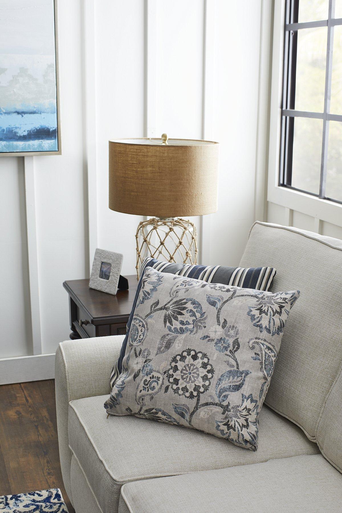 Sylvie Blue Fabric Square Accent Pillow