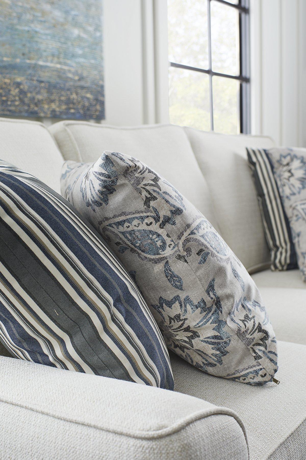 Amuse Blue Fabric Square Accent Pillow