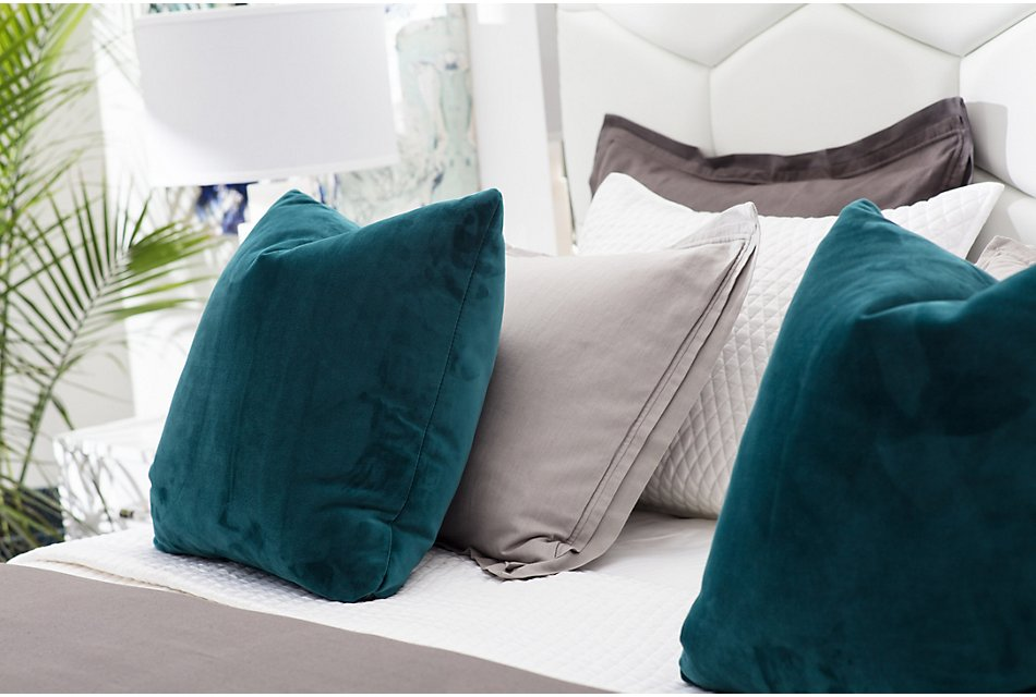 Royale Dark Teal  Fabric Square Accent Pillow