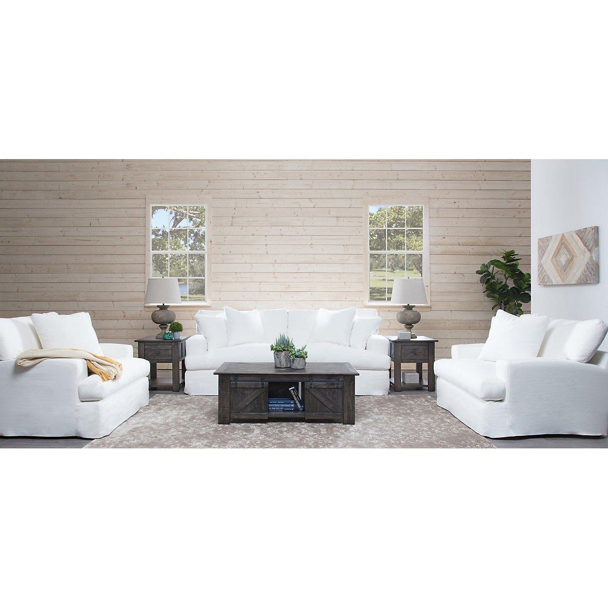 City Furniture Delilah White Fabric Sofa