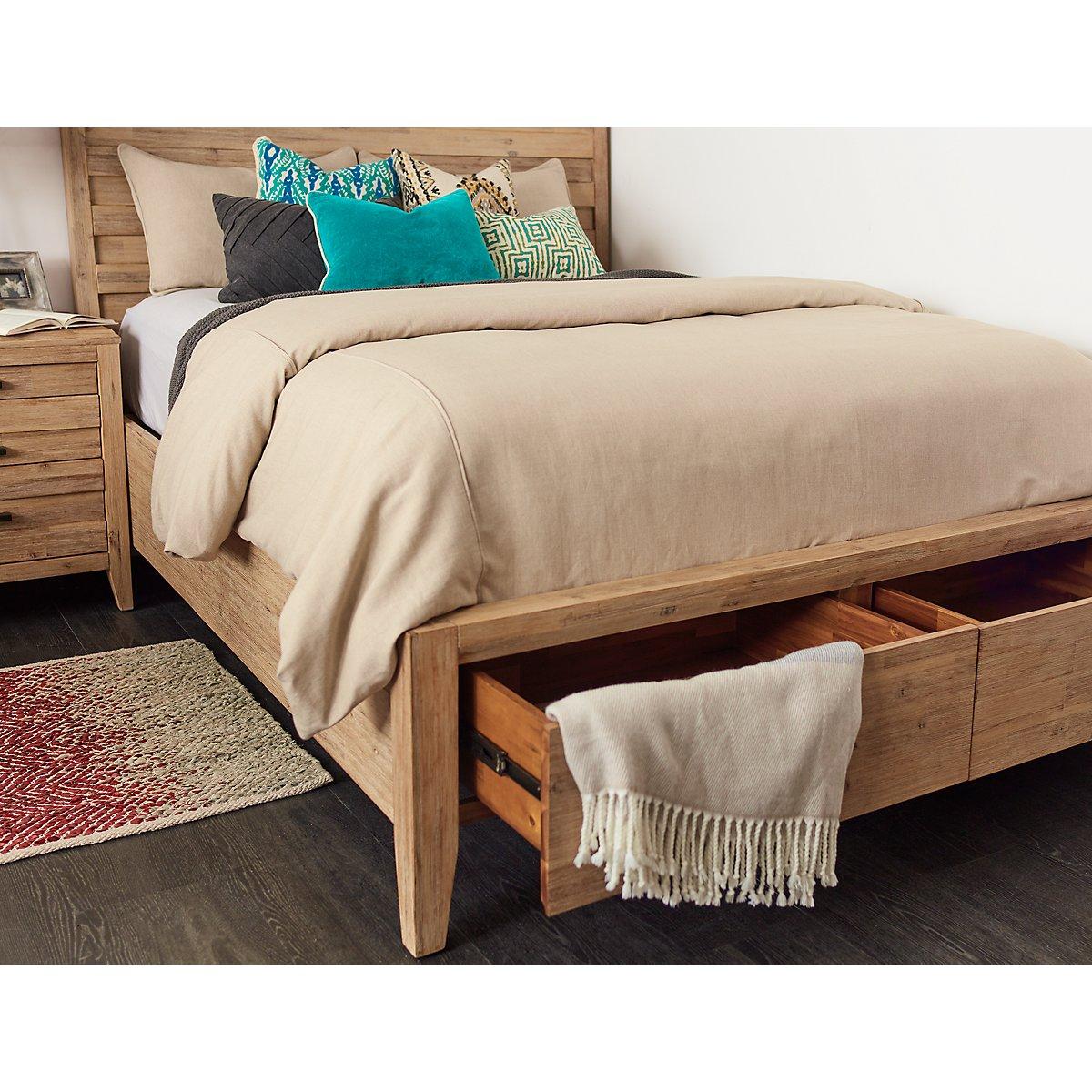 Casablanca Light Tone Wood Panel Storage Bed