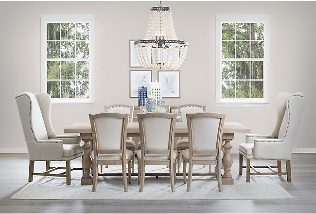 Haddie Light Tone Trestle Table & 4 Wood Chairs