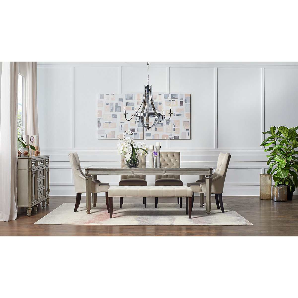 Sloane Light Beige Rect Table, 4 Chairs & Bench | Dining Room ...