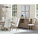 Haddie Light Tone Wood Table & 4 Upholstered Chairs
