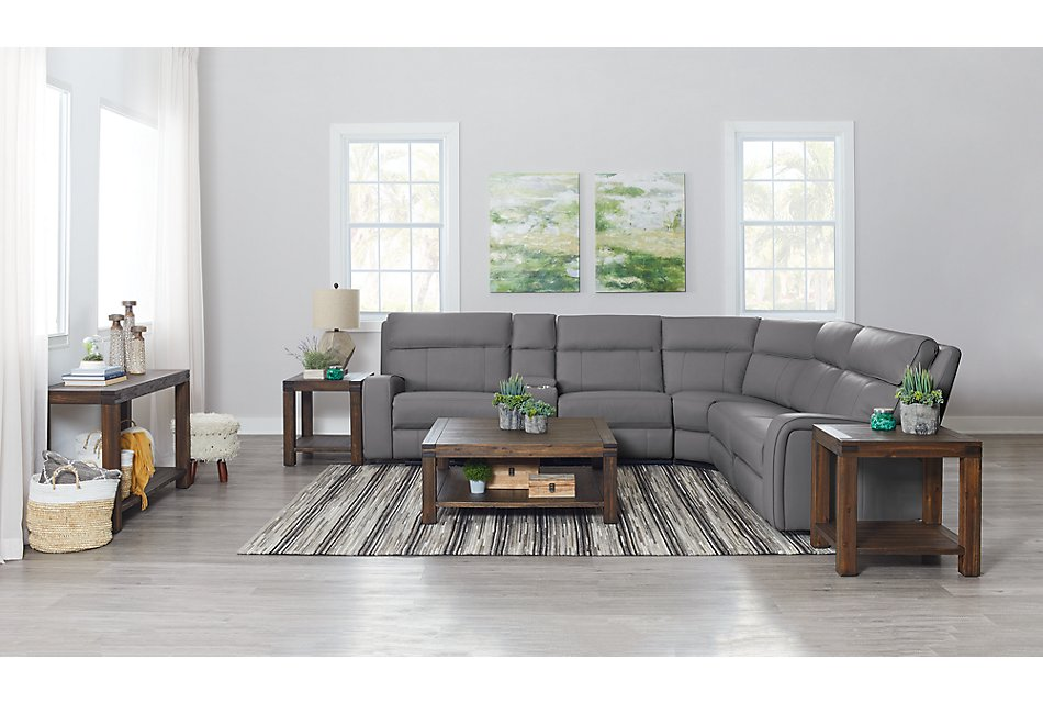 Rhett GRAY MICRO Small Two-Arm Manually Reclining Sectional