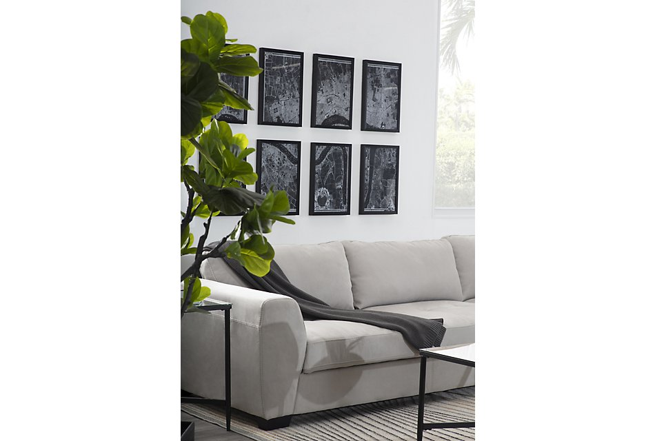 Perry Light Gray  MICRO Right Chaise Sectional