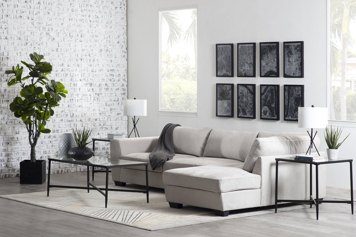 Perry Light Gray Microfiber Right Chaise Sectional