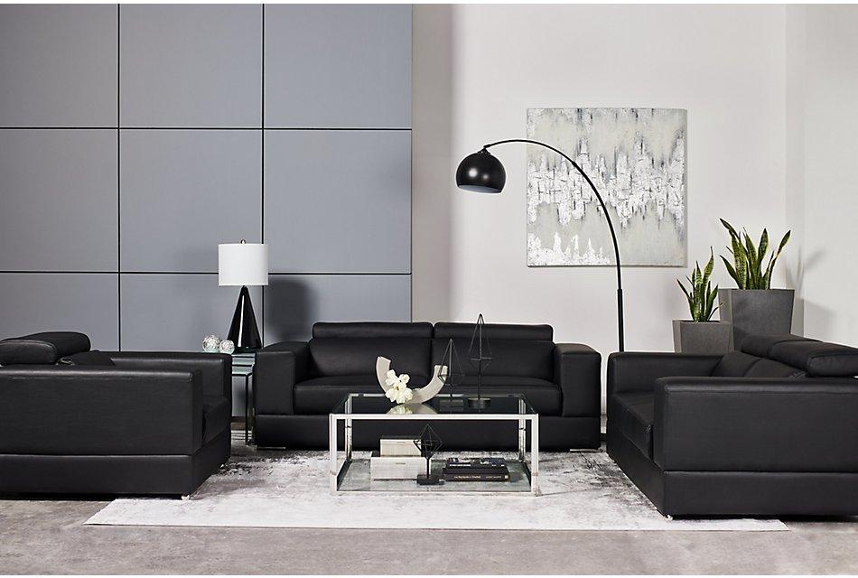 Maxwell Black Microfiber Living Room   Living Room - Living ...