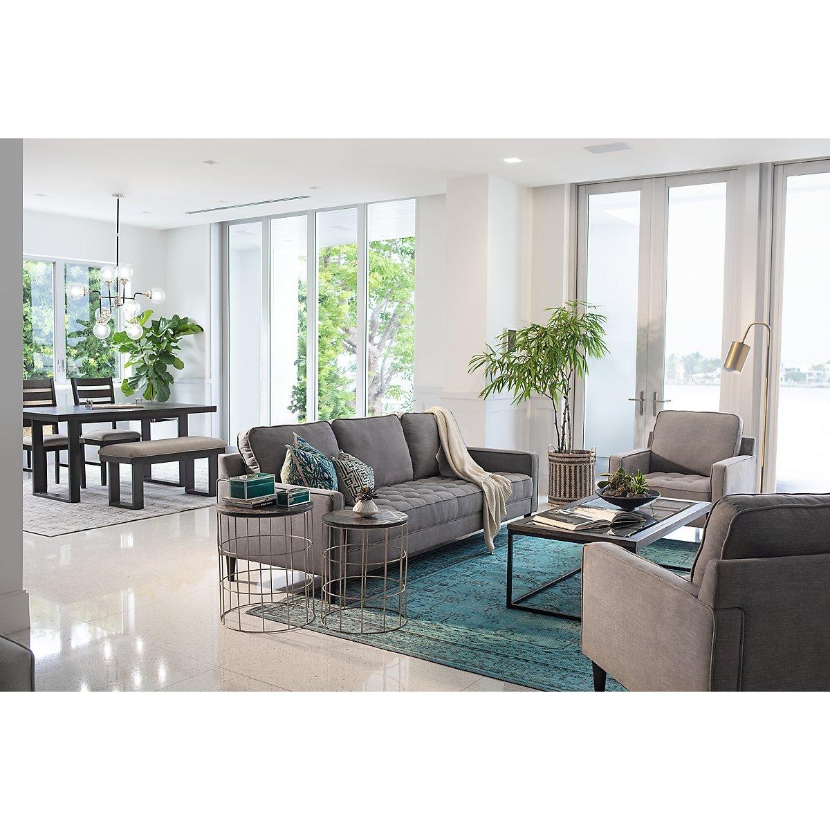 Eli Gray Microfiber Small Living Room | Living Room - Living Room ...