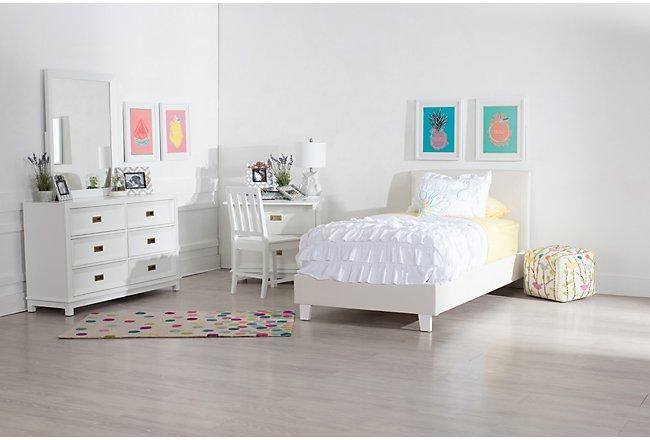 Emma White Upholstered Panel Bedroom