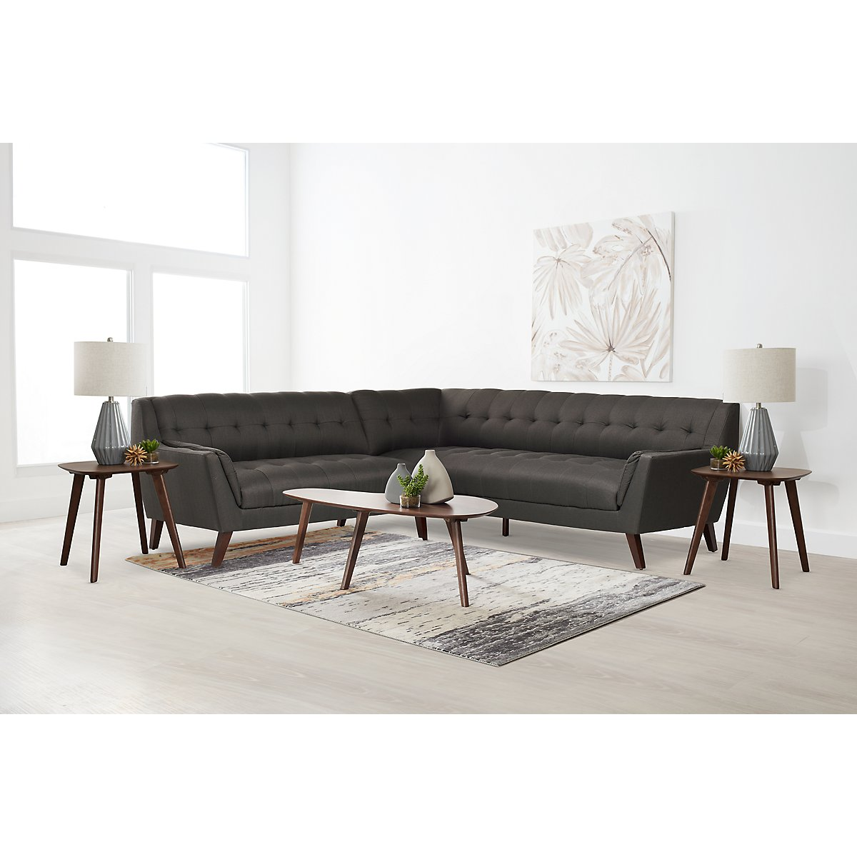 Brentwood Dark Gray Fabric 6-Piece Living Room Package ...