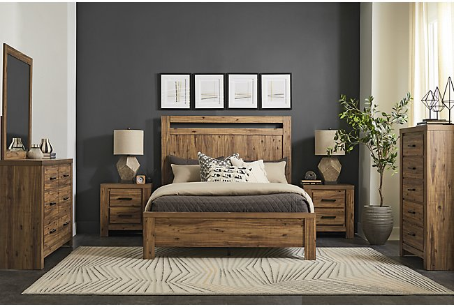 Forest Light Tone Wood Panel Bedroom