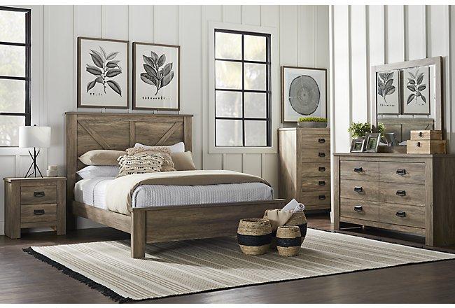 Shelton Light Tone Wood Panel Bedroom Package