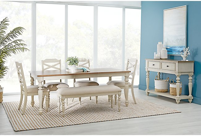 Lexington Two Tone Rect Table 4 Chairs Bench Dining Room
