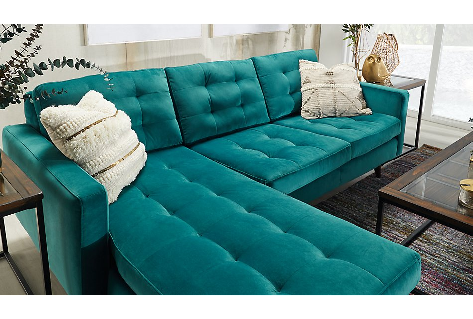 Mila TEAL VELVET Left Chaise Sectional