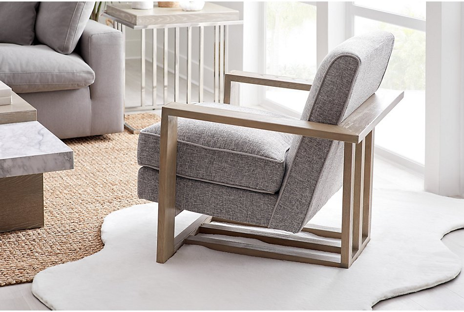 Teague Gray Accent Chair | Living Room - Accent Chairs ...