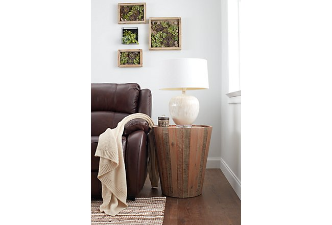 Conundrum Mid Tone Wood Round End Table
