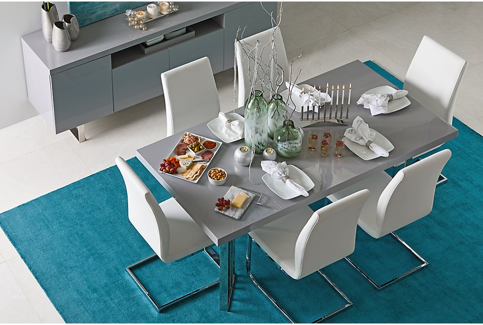 Astounding Axel White Table 4 Upholstered Chairs Dining Room Lamtechconsult Wood Chair Design Ideas Lamtechconsultcom