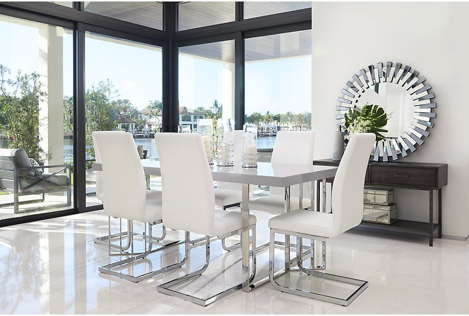 Outstanding Axel White Table 4 Upholstered Chairs Dining Room Lamtechconsult Wood Chair Design Ideas Lamtechconsultcom