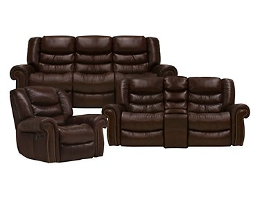 Peyton2 Dark Brown Leather & Vinyl Manually Reclining Living Room