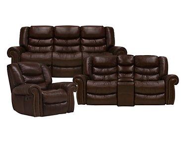 Peyton2 Dark Brown Leather & Vinyl Power Reclining Living Room