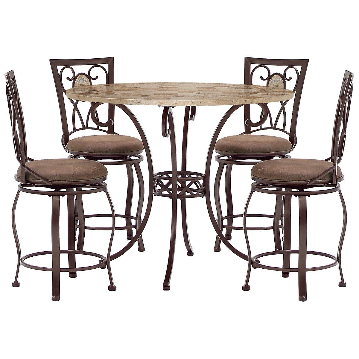 Brookside Round Stone High Table & 4 Barstools