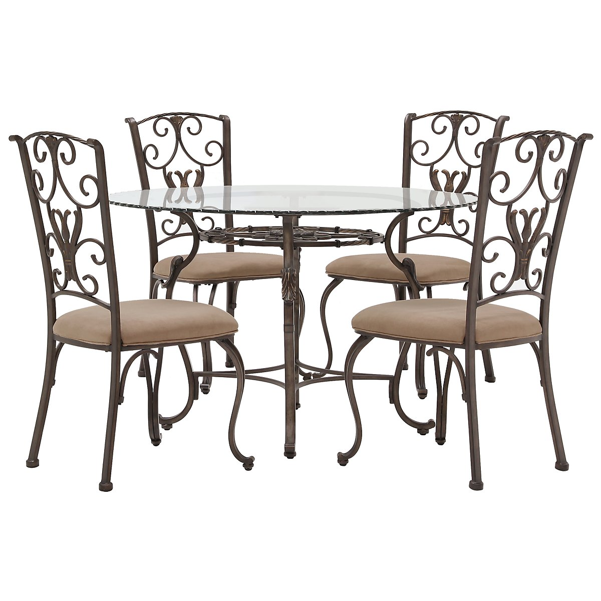 Westcot2 round glass table 4 chairs for Dining room sets 4 chairs